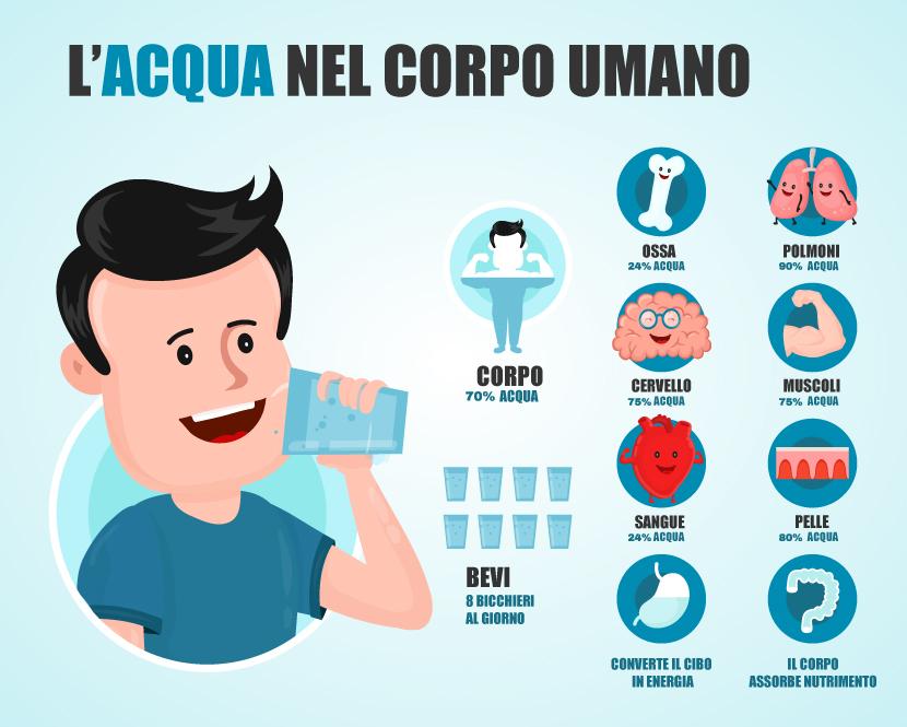acqua presente nel corpo umano e i suoi benefici