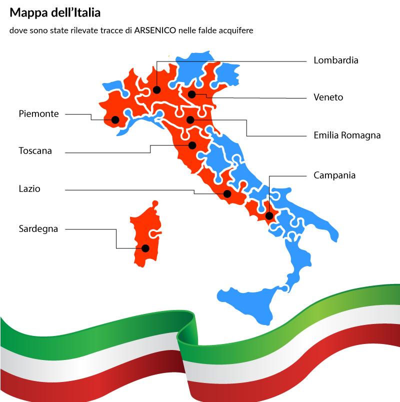 mappa Italia delle tracce di arsenico nelle falde acquifere