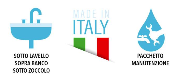 depuratore d'acqua per sottolavello o soprabanco made in italia