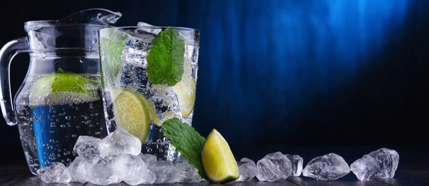 acqua fredda e limone da bere