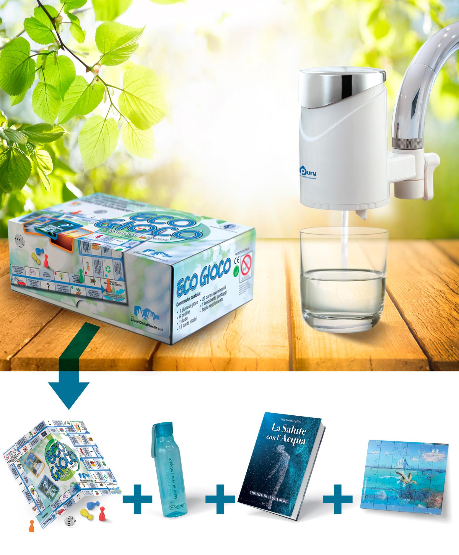 pury per acqua pura dal rubinetto di casa con omaggio il kit ecologico